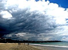 Storm clouds over Takapuna Beach.