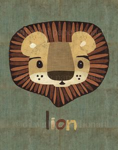 Here's a cute lion print ready to frame for a nursery or kids' room (or for the young in heart). Sale price $22.50 To see all of paperlionart's work go to www.etsy.com/shop/paperlionart