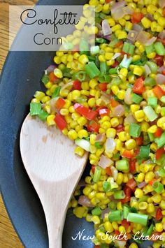 Confetti Corn is the perfect side dish to jazz up a simple dinner. It's a great side to serve with chicken breasts, pork chops or even ham. It would even be great with hamburgers or barbecue. This dish is delicious with corn fresh from the cob but it's just as good when made with frozen,