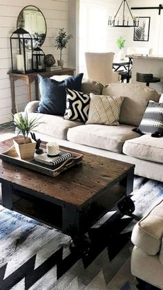 Elegant Farmhouse Living Room Design And Decor Ide. Elegant Farmhouse Living Room Design And Decor Ide. - Always aspired to learn . Farmhouse Living Room Furniture, Modern Farmhouse Decor, Living Room Interior, Home Living Room, Living Room Designs, Rustic Farmhouse, Living Spaces, Farmhouse Ideas, Farmhouse Design