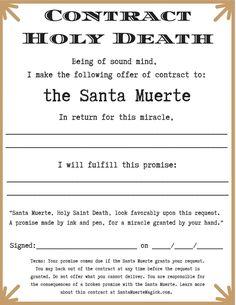 How to Make a Contract with Santa Muerte - Santa Muerte Magick ™ Skeleton Couple Tattoo, Couple Tattoos, Girly Skull Tattoos, Santa Muerte Prayer, Book Of Shadows, Voodoo, Deities, Folklore, Loyalty