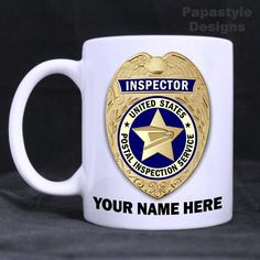 US Postal Inspector Personalized 11oz Coffee Mug Made in the USA. #Handmade