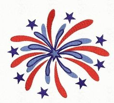Fire Work Machine Embroidery Design - 4th fourth of July 4 sizes included