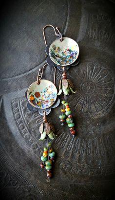 Flowers, Enamel Earrings, Torched Enamel, Vintage, Flowers, Artisan Made, Earthy, Organic, Beaded Earring