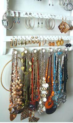 ON SALE Jewelry Holder Earring Organizer Solid Oak Wood
