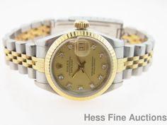 Genuine Rolex Ladies Datejust 18k Gold SS Diamond Dial Watch 69173 #Rolex #Sport