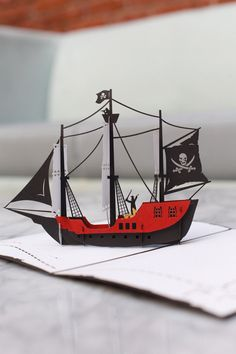New to LovePopCards on Etsy: Pirate Ship Pop Up Birthday Card Talk Like a Pirate Day Gift Pop Up Pirate Ship Greeting Card Pirate Theme Birthday Pirate Gift (13.00 USD)
