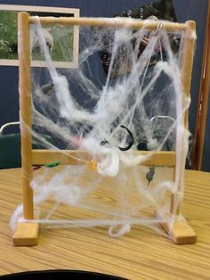 Spider web  Have students say their words or the object they are going to toss at the web. It could be used as a great /s/ blends- but for preschool we are just saying our words or talking about what they are going to toss at the web to see if it sticks...lol