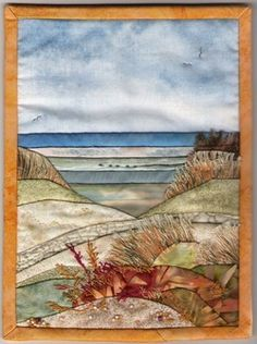 Hand appliqued quilting, landscapes. Oh the talent! Would LOVE to frame something like this for guest bath decor.