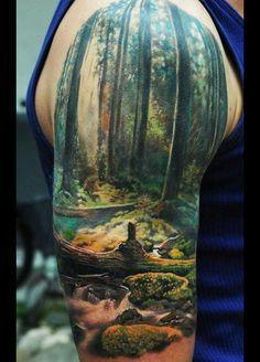 black ink scenery tattoo - Google Search