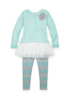 Sweet Heart Rose Turquoise Tulle Top Set Girls 4-6x