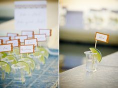 """Modern Mexico-Inspired Wedding Ideas  - """"Take a shot, take a seat!"""" #escortcards #placecards"""