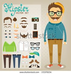 Hipster character pack for geek boy with accessory clothing and facial elements vector illustration