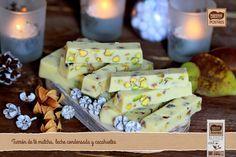 Turrón de leche condensada, chocolate blanco y pistachos