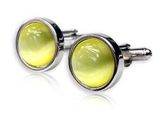 Timeless Round Pale Yellow Catseye-style Cufflinks Framed silver-tone by Cuff-Daddy Cuff-Daddy. $28.99. Made by Cuff-Daddy. Arrives in hard-sided, presentation box suitable for gifting.. Save 52% Off!