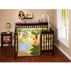 Little Bedding by NoJo - Jungle Time 4-Piece Crib Bedding Set