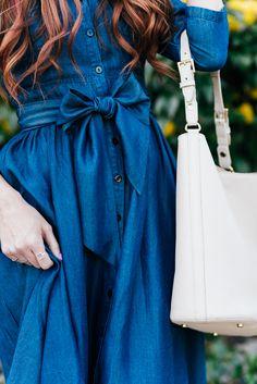 Dainty Jewell's modest denim dress   Little J Style Blog