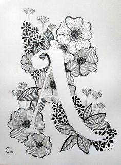 Cute Doodle Art, Doodle Art Letters, Doodle Art Designs, Doodle Art Drawing, Cool Art Drawings, Mandala Drawing, Pencil Art Drawings, Art Drawings Sketches, Letter Art