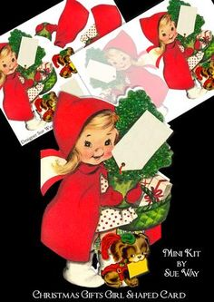 Christmas Gifts Girl Shaped Card Mini Kit on Craftsuprint designed by Sue Way - A really quick