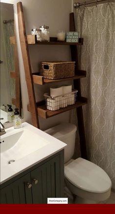 Over the Toilet Ladder Shelf Toilet Topper Bathroom Storage diy bathroom decor Leaning Ladder Shelf, Ladder Bookshelf, Small Bookshelf, Small Shelves, Over The Toilet Ladder, Small Bathroom Storage, Over Toilet Storage, Bathroom Ladder Shelf, Toilet Shelves