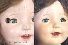 Before and After Repair on Vintage Composition Doll from Ruth's Cork Board