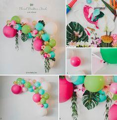DIY Floral Balloon Arch Tropical balloon DIY DIY Fairy House Flower Tealight Guide with BalloonBalloon Week: DIY balloon bow without heliumBalloon bow diyFlower Letters Balloon Arch Diy, Balloon Flowers, Balloon Garland, Balloon Decorations, Balloons, Ballon Arch, Diy Party Decorations, Flamingo Birthday, Flamingo Party
