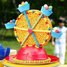 We promise: This candy-covered Ferris-wheel cake is easy to make.