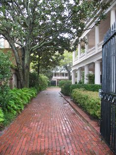 Brick path by one of the grand old mansions in Charleston, SC.