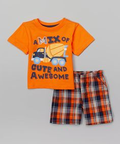 Look at this Orange 'Cute and Awesome' Tee & Plaid Shorts - Infant & Toddler Little Boy Outfits, Baby Boy Outfits, Kids Outfits, Baby Boy T Shirt, Baby Boys, Short Niña, Plaid Shorts, Kids Pajamas, Bermuda