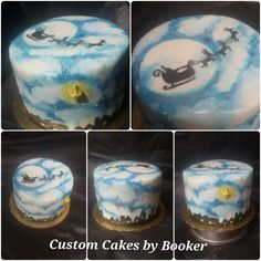 Night before Christmas - hand painted on fondant, inspired by cake design by Karen Keaney posted on Pinterest
