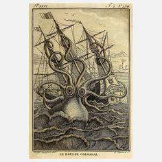 Adam's Ale Art: Kraken 12x16, (Jules Verne, 20,000 Leagues Under the Sea)