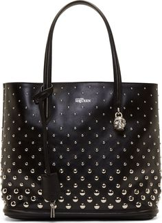 Alexander McQueen Black Studded Leather Padlock Small Shopper