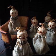 Tattered Teeny Pumpkin Art Dolls Halloween Folk Art by Melissa Valeriote