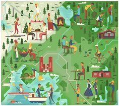 A series of editorial illustrations by studio MUTI for Monocle 78 - Oslo feature. MUTI, a Cape Town, South Africa based creative studio has created two Monocle Magazine, South African Design, Map Design, Graphic Design, Flat Illustration, Travel Illustration, Travel Maps, Creative Studio, Oslo