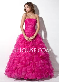 A-Line/Princess Strapless Floor-Length Organza  Satin Prom Dresses With Ruffle