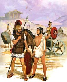 """Etruscans: • 3rd Class Warrior, 7th-4th cent. BC • Hoplite, Southern Etruria, 6th-3rd cent. BC • Auxiliary Slinger, Southern Etruria, 6th-3rd cent. BC • General on chariot, Populonia, 6th-4th cent. BC"", Oscar Luna"