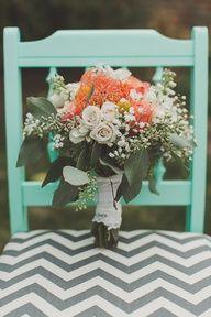peach  cream wedding bouquet