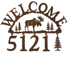 Adirondack Moose Rustic Cabin Lodge Address Sign (IWAS-2065NEW) - An Adirondack Moose standing in the field with ...