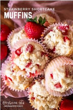 Strawberry shortcake muffins are a treat that's perfect for breakfast and for snacking. Fresh strawberries in every tender and moist muffin! Best Breakfast Recipes, Best Dessert Recipes, Fun Desserts, Cake Recipes, Snack Recipes, Breakfast Ideas, Strawberry Muffins, Strawberry Shortcake, Perfect Red Velvet Cake Recipe