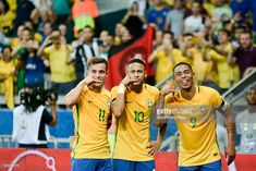 Neymar Jr of Brazil celebrates with teammates after scoring the secong goal of his team during a match between Argentina and Brazil as part of FIFA 2018 World Cup Qualifiers at Mineirao Stadium on November 10, 2016 in Belo Horizonte, Brazil.