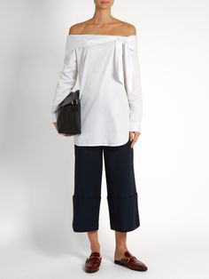 Luxe Tuxedo off-the-shoulder cotton top | Tibi | MATCHESFASHION.COM
