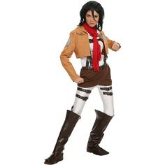 Attack On Titan Mikasa Ackermann Costume Hot Topic ($80) ❤ liked on Polyvore featuring costumes, white halloween costumes, sash belt, mikasa and white costume