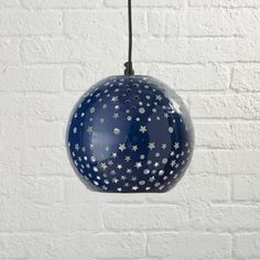 Shop Star and Dot Pendant. The effect our Star and Dot pendant has on a room is completely cosmic. Planet and star cutouts against a dark blue background mimic the majesty of a glowing night sky. No telescope necessary or astronomy degree needed. Kids Ceiling Lights, Star Ceiling, Kids Lighting, Ceiling Decor, Ceiling Lighting, Bedroom Lighting, Space Themed Nursery, Nursery Themes, Nursery Ideas