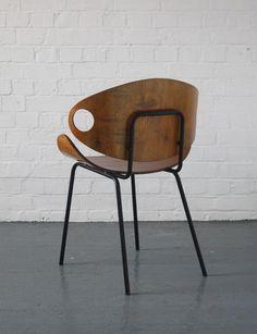 Olavi Kettunen; Bent Plywood and Enameled Metal Chair for J. Merivaara, 1950s. #MetalChair