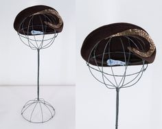 Vintage 40s Hat / 1940s Avant Garde Brown Felt Beaded Asymmetric Hat by FloriaVintage on Etsy