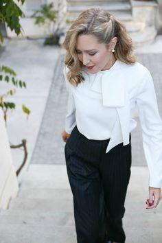 Pinstripe Wideleg Trousers, Tie Neck Blouse | MemorandumMEMORANDUM, formerly The Classy Cubicle