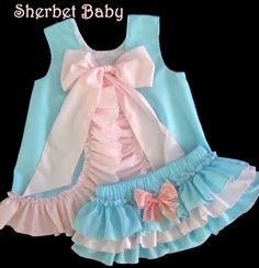 Aqua Blue & Pink Pinafore Set Sassy Pants Ruffle by SherbetBaby, $68.00