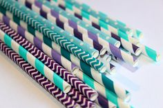 24 mermaid under the sea purple teal chevron polka dot dotted graduation striped stripes paper straw first birthday party bridal baby shower...