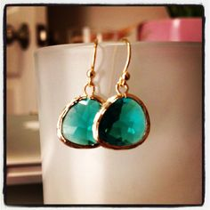 Amy Earrings Gold  Emerald by xoMonicaAnnDesigns on Etsy, $22.00