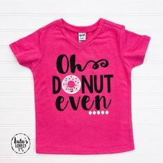 This is such a cute and silly shirt for your little donut lovers! Shirts are handmade using a professional grade heat press and high quality transfer materials. Shirt Details: An adorable soft hot pink short-sleeve v-neck tee is used (see photos). Glitter heat transfer vinyl is used for the black lettering. Care Instructions: Machine wash gently with shirt inside out on cold. Dry on low with shirt inside out or hang dry. Do not iron on image. Do not dry clean. Do not fold on...